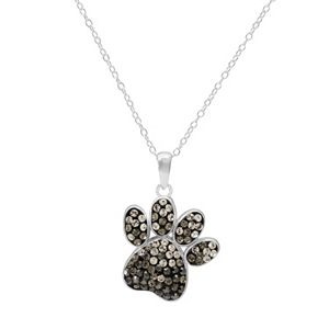 Mother of pearl sterling silver paw print pendant necklace sale aloadofball Images