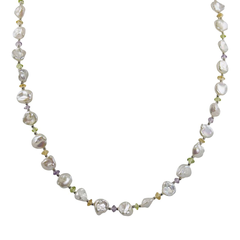 Sterling Silver Freshwater Cultured Pearl & Gemstone Necklace