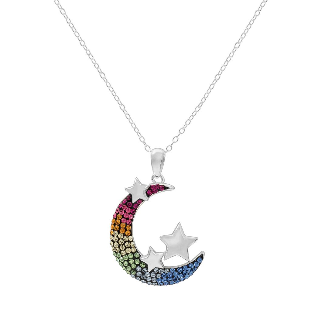 Hue Sterling Silver Crystal Moon & Star Pendant Necklace