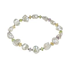 Sterling Silver Freshwater Cultured Pearl & Gemstone Stretch Bracelet