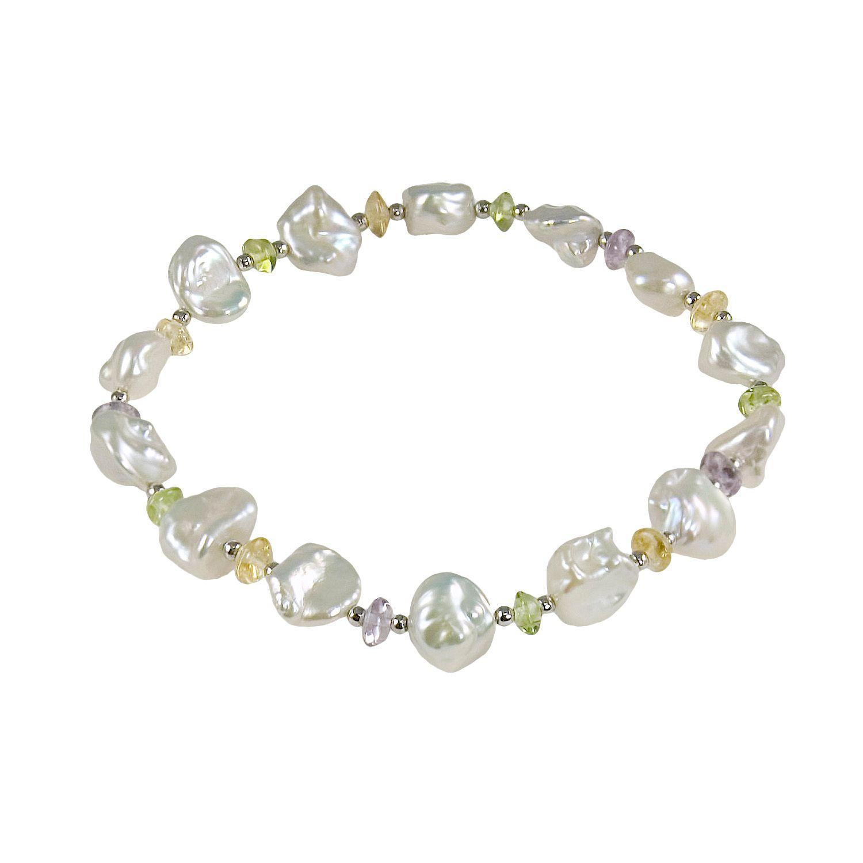 sterling silver freshwater cultured pearl u gemstone stretch bracelet with lustre rose baroque. Black Bedroom Furniture Sets. Home Design Ideas