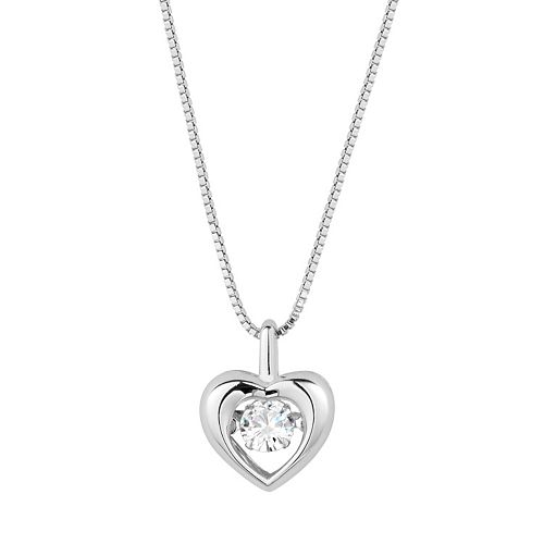 Forever Classic Sterling Silver 1/3 Carat T.W. Lab-Created Moissanite Heart Pendant