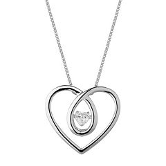 Forever Classic Sterling Silver 1/4 Carat T.W. Lab-Created Moissanite Heart Pendant