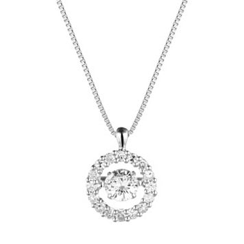 Forever Classic Sterling Silver 3/4 Carat T.W. Lab-Created Moissanite Halo Pendant