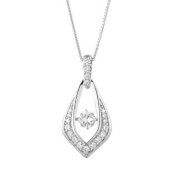 Forever Classic Sterling Silver 1 Carat T.W. Lab-Created Moissanite Marquise Pendant