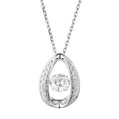 Forever Classic Sterling Silver 1 1/4 Carat T.W. Lab-Created Moissanite  Oval Pendant