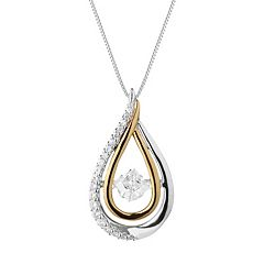 Forever Classic Two Tone Sterling Silver 1 1/4 Carat T.W. Lab-Created Moissanite Teardrop Pendant
