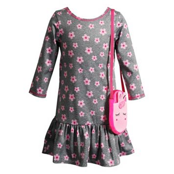 Toddler Girl Youngland Floral Dress with Crossbody Applique Purse