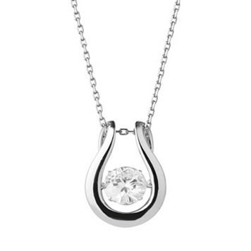 Forever Classic Sterling Silver 1 1/2 Carat T.W. Lab-Created Moissanite Horseshoe Pendant