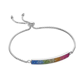 Hue Sterling Silver Rainbow Crystal Curved Bar Lariat Bracelet