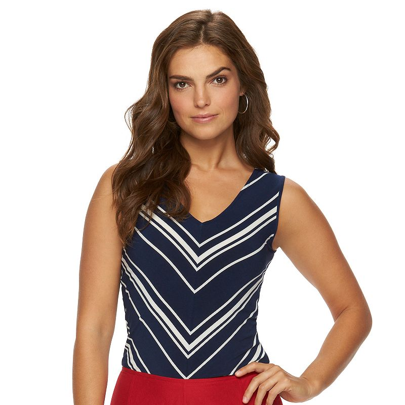 Women's Chaps Chevron-Striped V-Neck Tank