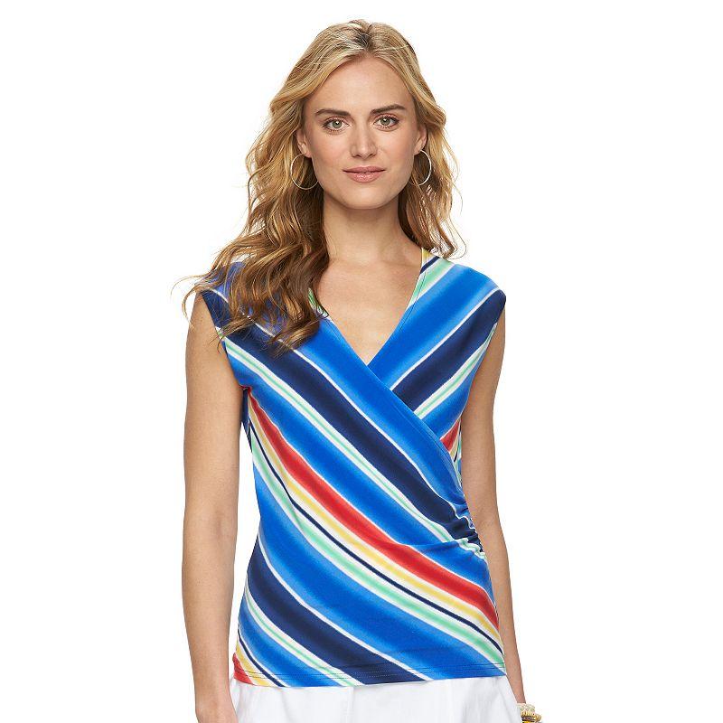 Women's Chaps Striped Faux-Wrap Top