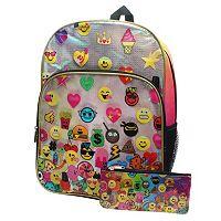Kids Fashion Emoji Backpack w/Pencil Case Set