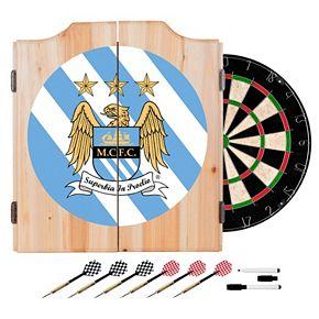 Manchester City FC Cabinet Dart Board Set