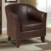 Pulaski Nailhead Faux-Leather Tub Chair