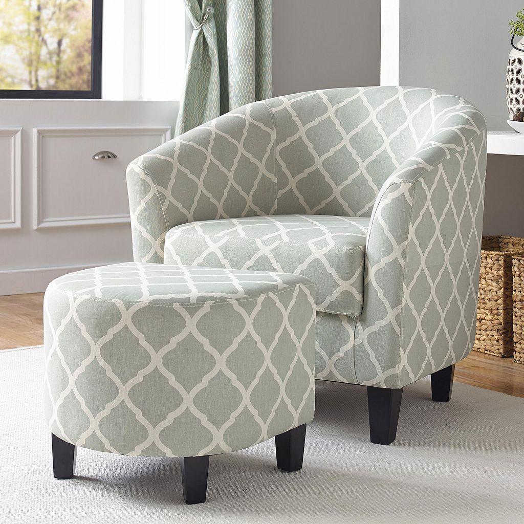 Pulaski Quatrefoil Upholstered Accent Chair & Ottoman 2-piece Set