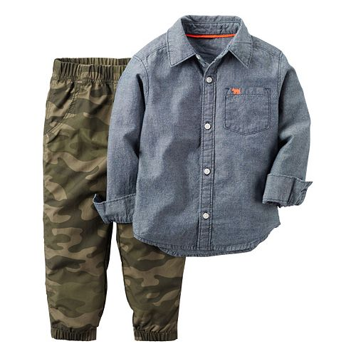 Toddler Boy Carter's Chambray Button-Down Shirt & Camouflage Jogger Pants Set