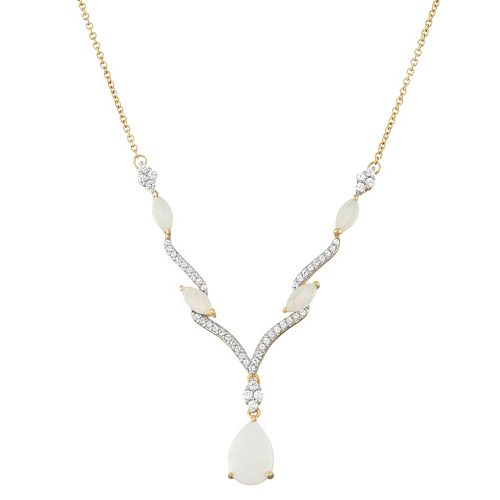 14k Gold Over Silver Lab-Created White Opal & White Sapphire Necklace