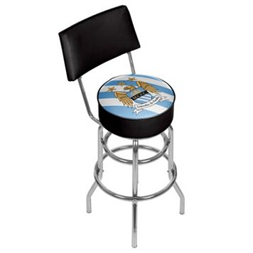 Manchester City FC Swiveling Chrome Bar Stool with Back