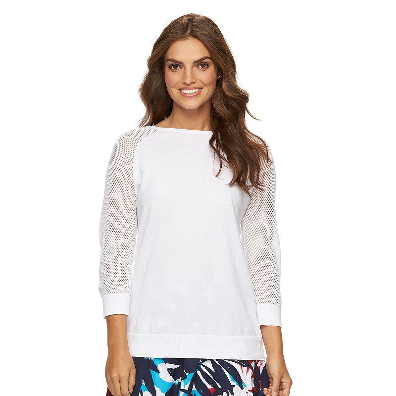 Women's Chaps Pointelle Crewneck Sweater