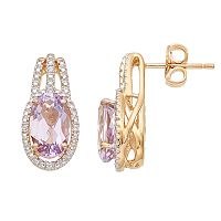 14k Gold Over Silver Rose de France Amethyst & Lab-Created White Sapphire Drop Earrings