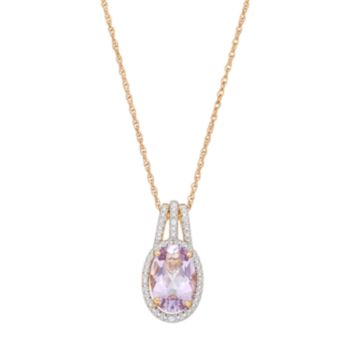 14k Gold Over Silver Rose de France Amethyst & Lab-Created White Sapphire Halo Pendant