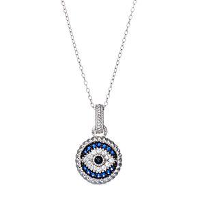 Sterling Silver Blue Glass & Cubic Zirconia Evil Eye Pendant