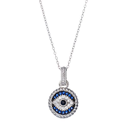 Sterling Silver Blue Glass & Cubic Zirconia Evil Eye Pendant