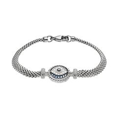 Sterling Silver Blue Glass & Cubic Zirconia Evil Eye Bracelet