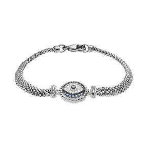 Sterling Silver Blue Glass & Cubic Zirconia Evil Eye Bracelet