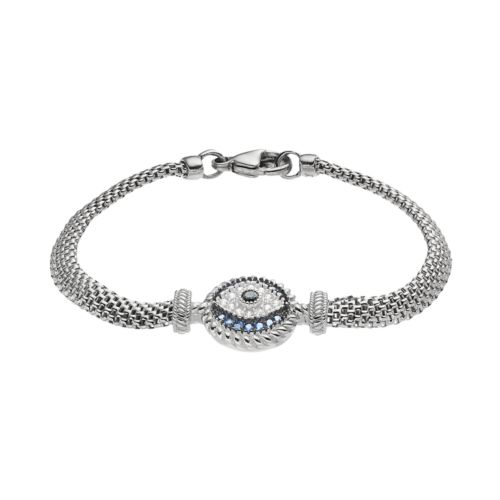 Sterling Silver Blue Glass Amp Cubic Zirconia Evil Eye Bracelet