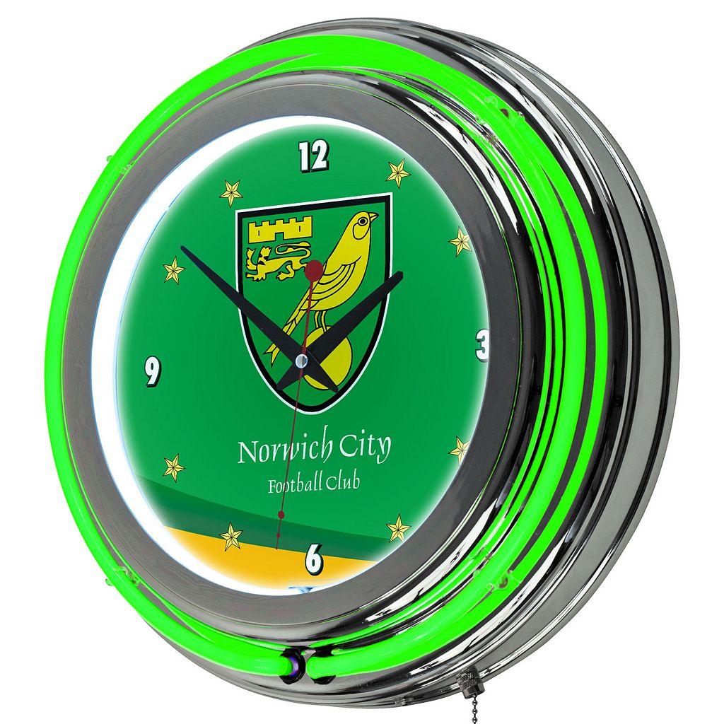 Norwich City FC Neon Wall Clock