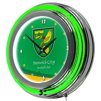 Norwich City FC Neon Wall Clock