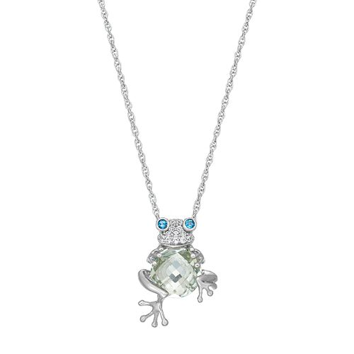 Sterling Silver Gemstone Frog Pendant Necklace