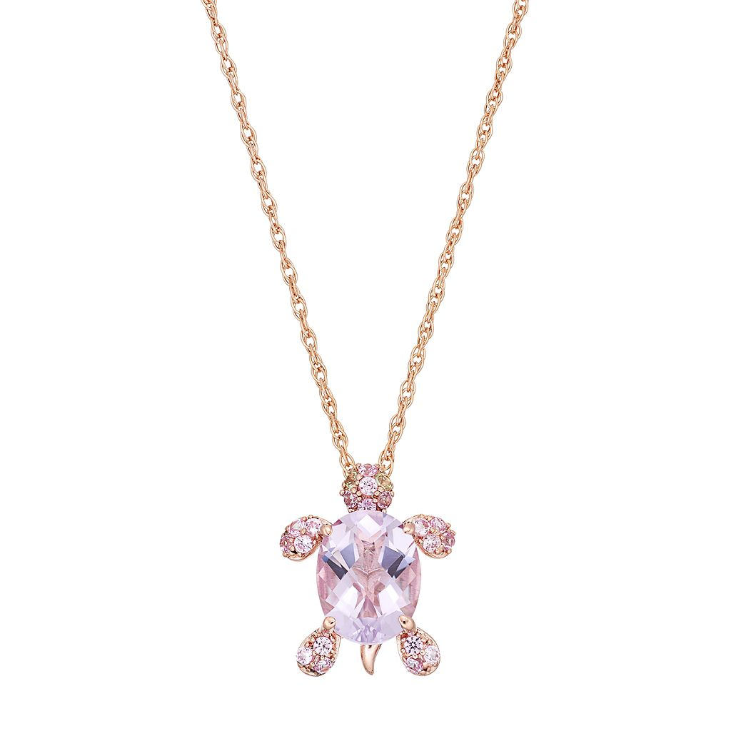 14k Rose Gold Over Silver Gemstone Turtle Pendant Necklace