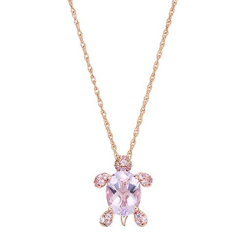 14k Rose Gold Over Silver Gemstone Turtle Pendant Necklace