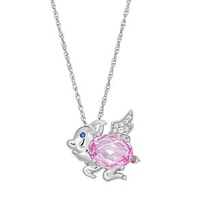 Sterling Silver Lab-Created Pink, White & Blue Sapphire Flying Pig Pendant
