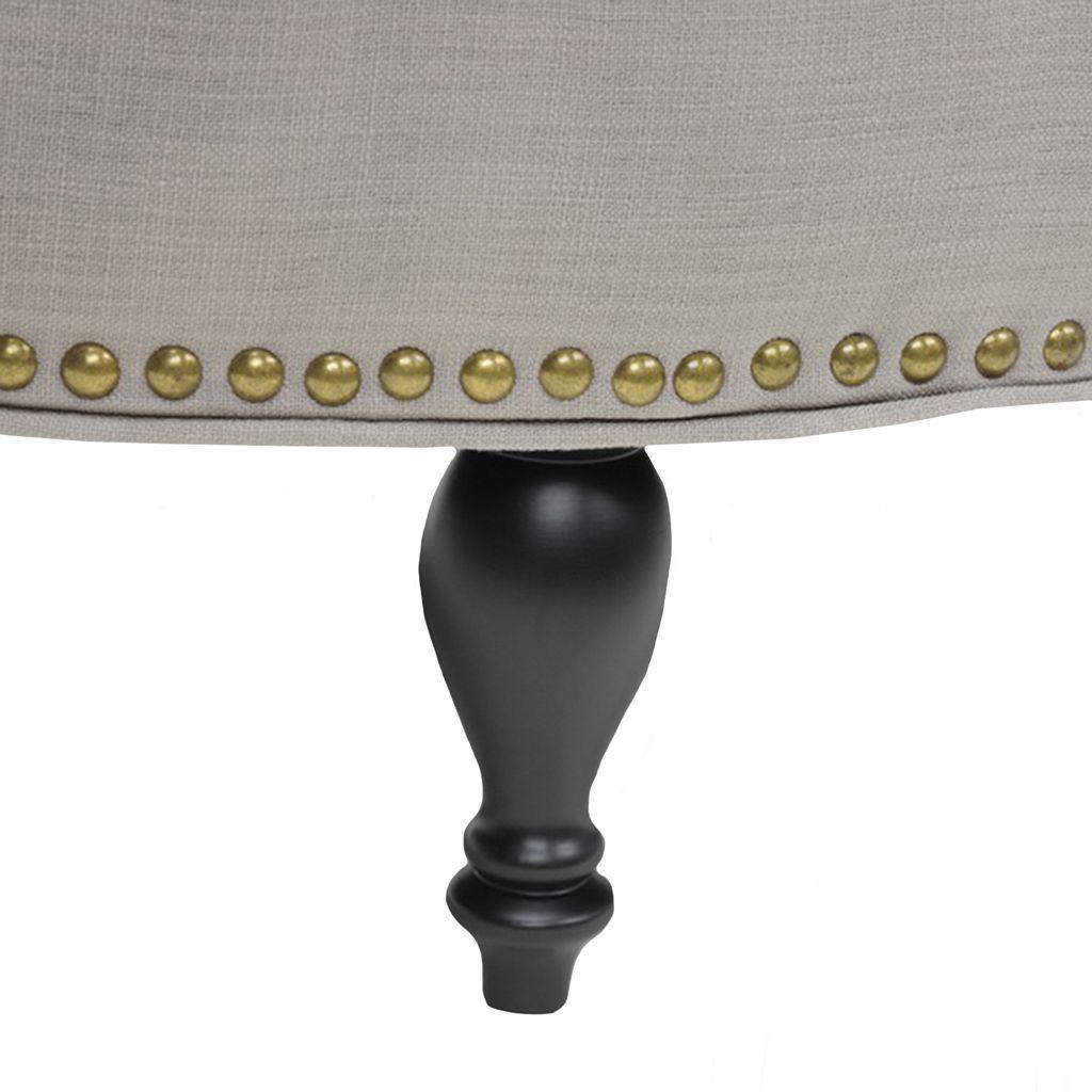 Baxton Studio Palfrey Solid Round Tufted Ottoman