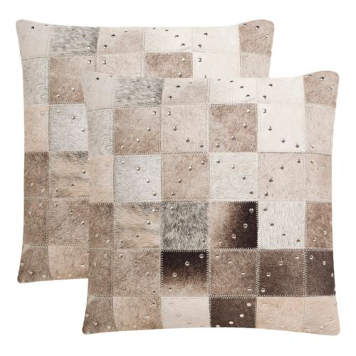 Safavieh Phoebe Studded Cowhide Throw Pillow 2-piece Set