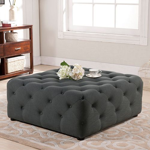 Baxton Studio Teague Solid Tufted Ottoman