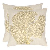 Safavieh Spice Fan Coral Embroidered Throw Pillow 2-piece Set