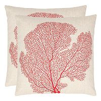 Safavieh Spice Fan Coral Embroidered Throw Pillow 2 pc Set