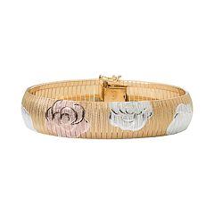 Tri-Tone Sterling Silver Floral Bangle Bracelet