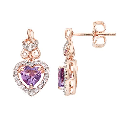 14k Gold Rose Over Silver Amethyst & Lab-Created White Sapphire Heart Drop Earrings