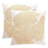 Safavieh Spice Fan Coral Embroidered Indoor Outdoor Throw Pillow 2-piece Set