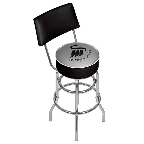 Swansea City AFC Swiveling Chrome Bar Stool with Back