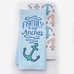 Local Life 'Family Is Our Anchor' Kitchen Towel 2 pk