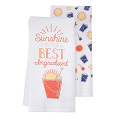 Local Life 'Sunshine Is The Best Ingredient' Kitchen Towel 2-pk.