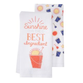 """Local Life """"Sunshine Is The Best Ingredient"""" Kitchen Towel 2-pk."""