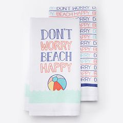 Local Life 'Don't Worry, Beach Happy' Kitchen Towel 2 pk
